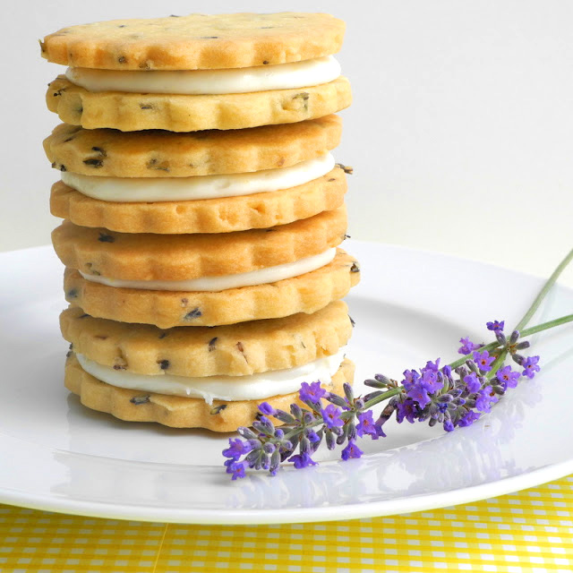 Lemon Filled Lavender Shortbread Cookies