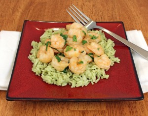 Red Curry Shrimp with Matcha Rice