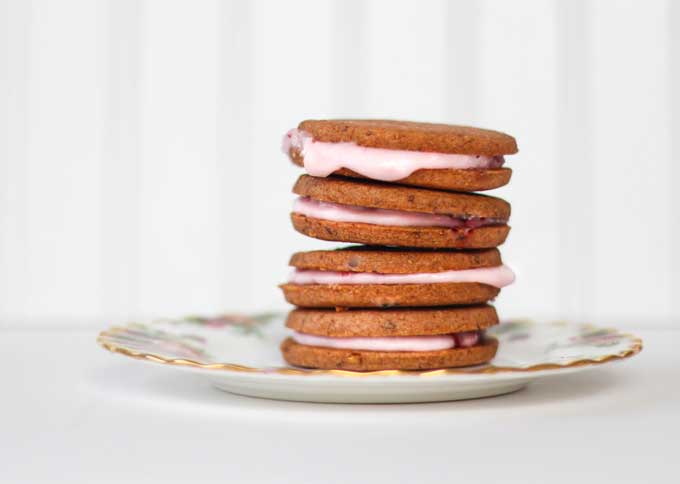 Strawberry Shortbread Sandwich Cookies