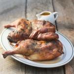 Smoked Chicken with Peach Ginger Barbecue Sauce for Man Food Mondays